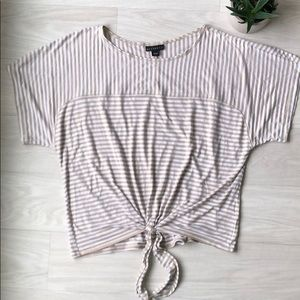 Metaphor striped front tie short sleeve top